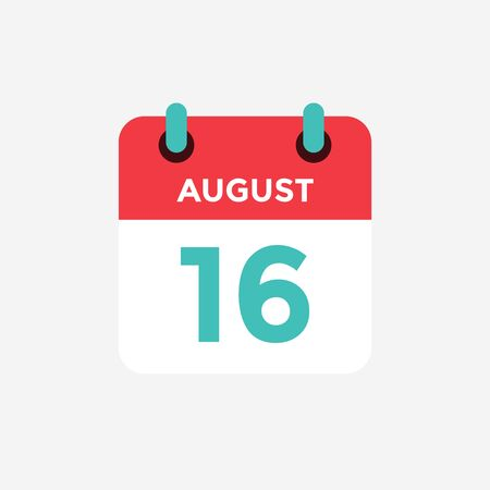 Flat icon calendar 16 o fAugust . Date, day and month. Vector illustration.