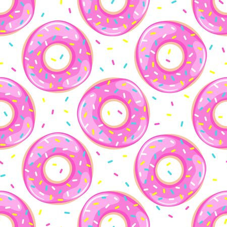 Pink donuts seamless pattern. Sweet food repeat background. Vector illustration. Foto de archivo - 134948892