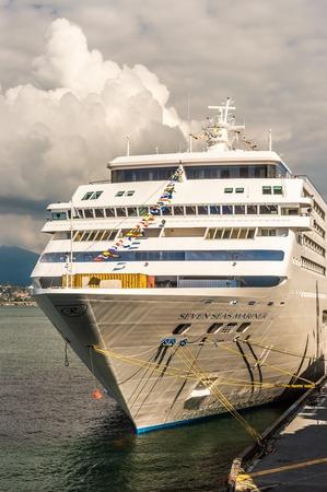 Vancouver, Canada - 12 settembre 2018: Nave da crociera Seven Seas Mariner, in porto.