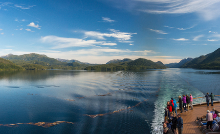 Principe Channel, BC, Canada - September 13, 2018: Cruise ship passengers viewing beautiful scenery of the Inside Passage along the Pacific Coast of British Columbia. Editöryel