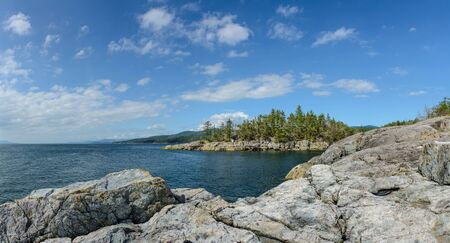 Entrance to Smuggler Cove Park from cliffs, Sunshine Coast, Canada.