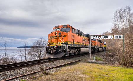 Surrey, Canada - Mar 29, 2020: BNSF train locomotive at Canada USA border