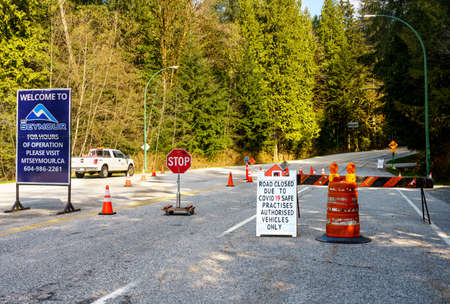 North Vancouver, Canada - Apr 7, 2020: Barricades control access to Mt. Seymour Provincial Park during Covid-19 pandemic