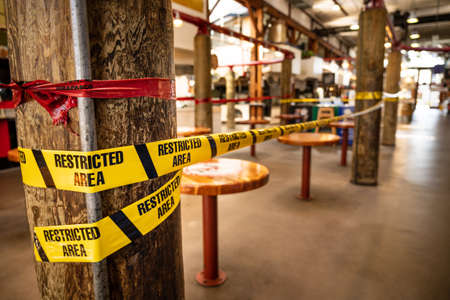 Vancouver, Canada - Apr 7, 2020: Closed seating area at Gravnille Island Public Market during Coronavirus pandemic