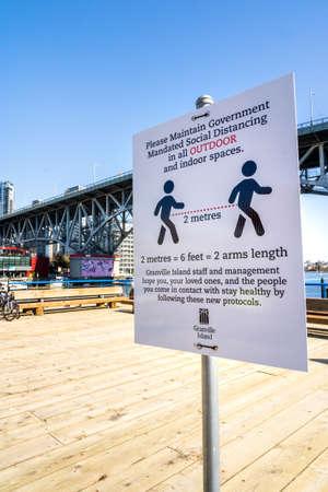 Vancouver, Canada - Apr 7, 2020: Empty courtyard on Granville Island during Coronavirus pandemic Editöryel