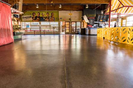 Vancouver, Canada - Apr 7, 2020: Empty artisan market area inside Granville Island Market during Coronavirus pandemic Editöryel