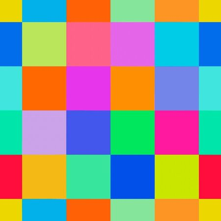 Repeat seamless pattern of colorful square blocks in bright color palette