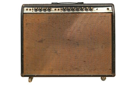 Vintage amplifier isolated on white background