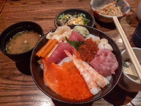 Sashimi donburi, Sushi Rice,japanese 스톡 콘텐츠