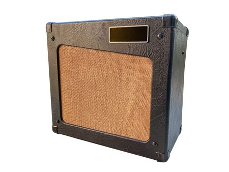 Isolated Vintage Amplifier with white background.