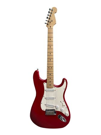isolated red vintage guitar with white background