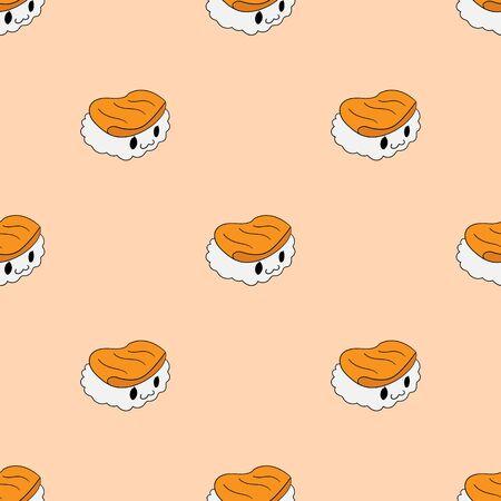 Sushi pattern. Japanese vector sushi bar restaurant.
