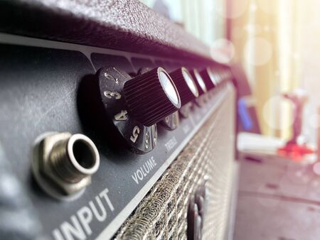 close-up power amplifier with the sunrise and bokeh. Stok Fotoğraf