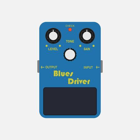 Blue vintage clean drive guitar stomp box effect, graphic icon design. t-shirt artwork.