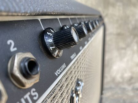 Close-up black knob,black panel vintage combo amplifier. Stok Fotoğraf