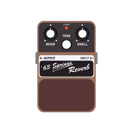 Brown vintage '63 Springs reverb guitar stomp box effect, graphic icon design. t-shirt artwork.