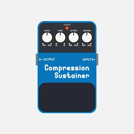 Blue compressor and sustainer guitar stomp box effect, graphic icon design. t-shirt artwork.
