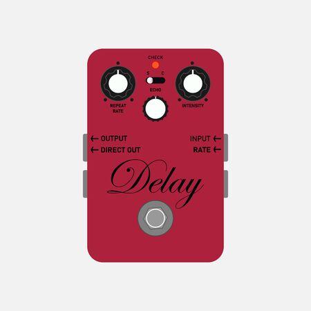 wine red boutique custom delay guitar stomp box effect, graphic icon design. t-shirt artwork.