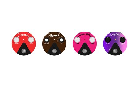 Basic electric guitar effect set is in a round, multi-colored Fuzz design. Overdrive effect, reverb, chorus, and delay can be used as clothing design icons. Used in graphics. Isolated on white.