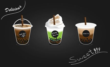 design collection of bubble milk tea, green tea and cocoa. Black pearl milk tea with chocolate is famous drink has a sweet, delicious flavor and has a pleasant aroma large size and small cup vector.