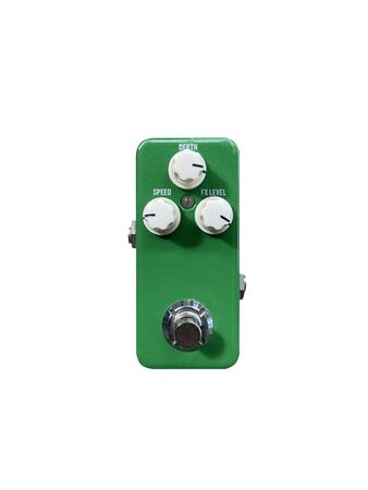 Isolated mini boutique sparkle green and black knob chorus stompbox electric guitar effect on white background