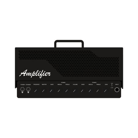 Isolated black electric guitar amplifier, cabinet equipment for musician flat logo or icon style, print for tee-shirt and graphic design, Musical instrument sales business. vector and illustration.