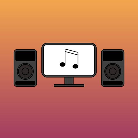 music studio monitor and computer screen with Two trumpet sign logo design on flat lay graphic style for business instrumental store, tee shirt print, and logo website. studio recording on a gradient. Vettoriali