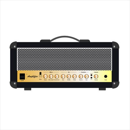 Isolated black vintage electric guitar amplifier, equipment for musician flat logo or icon style, print for tee-shirt and graphic design, Musical sales business. vector and illustration.