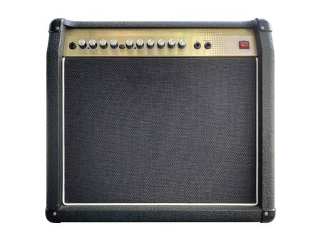 Isolated black leather and gold control panel modern electric guitar amplifier with black knob on white background. Popular amp in rock metal music. front view photo.