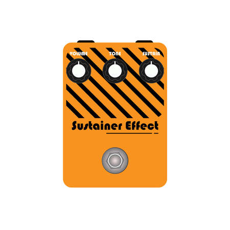 orange custom strip modern sustainer sound electric guitar stomp box effect with black knob and black plate , graphic icon design. t-shirt artwork. Use in music business.