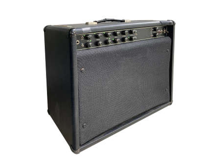Black leather with control panel and black knob modern overdrive American style most popular amplifier new and professional guitarist, for rock style isolated on white background