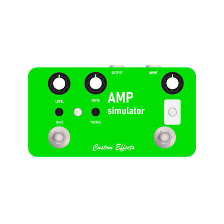 boutique neon green amplifier simulator vintage distortion sounds electric guitar stompbox effect with black knob, graphic icon design. t-shirt artwork. Use in the music business.