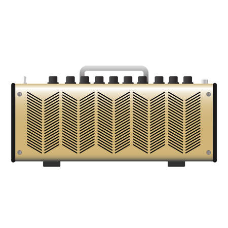 Isolated gold electric guitar amplifier, cabinet equipment for musician flat logo or icon style, print for tee-shirt and graphic design, Musical instrument sales business. vector and illustration. 矢量图像