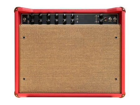 Isolated red leather and brown control panel vintage electric guitar USA style boutique amplifier on white background . Popular amp in clean music. front view photo. Standard-Bild