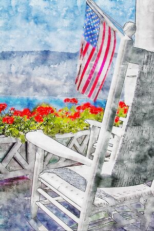 Red Geraniums, American Flag and Rocking Chair. Combination of sketch drawing with watercolor painting. Mackinac island, Michigan. Banco de Imagens