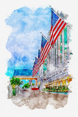 American Flags Waving in Air from White Pillar Building. Combination of sketch drawing with watercolor painting. Mackinac island, Michigan. Banco de Imagens