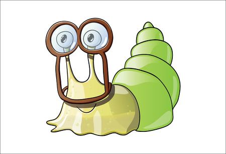 disgusting animal: Cute sticky snail wearing goggles