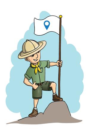 Giovane pioniere fiducioso in possesso di una bandiera, conquistando nuove terre, da qualche parte lontano dalla civiltà