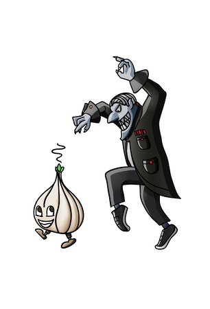 Wicked vampire pursuing the little garlic on tiptoes Illustration