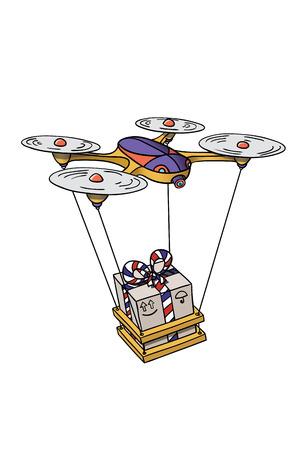 Quadrocopter delivers a parcel present