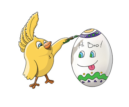 Cute yellow brother chick drawing on his brother egg a colorful patterns