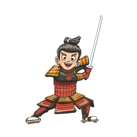 Japanese samurai warrior cartoon illustration