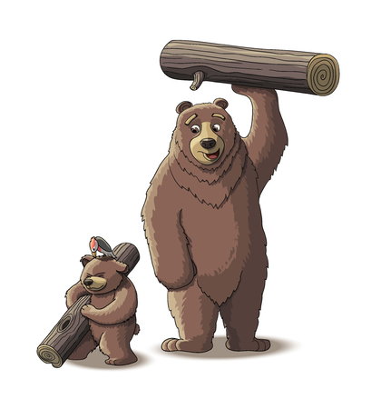 woodpecker: Brown bear and cub bear carry wood from the forest
