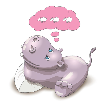 Vector illustration of a baby hippo counting sheep before sleep, on a white background