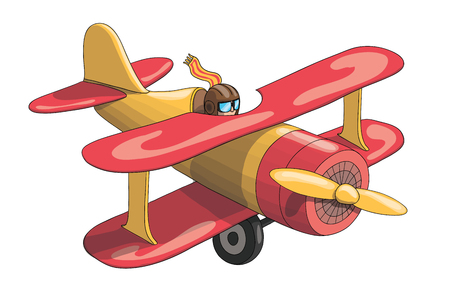 Cartoon Retro Red and Yellow Plane. EPS-10 vector format