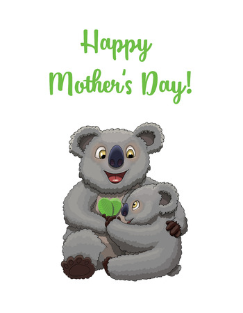 Happy Mothers Day! Cute little koala congratulates his mother with a couple of leaves in a shape of heart Ilustração