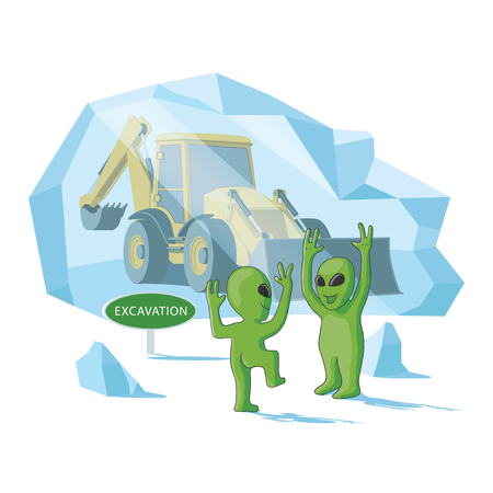 Happy aliens excavate a human excavator somwhere in the southern or northern pole Illustration