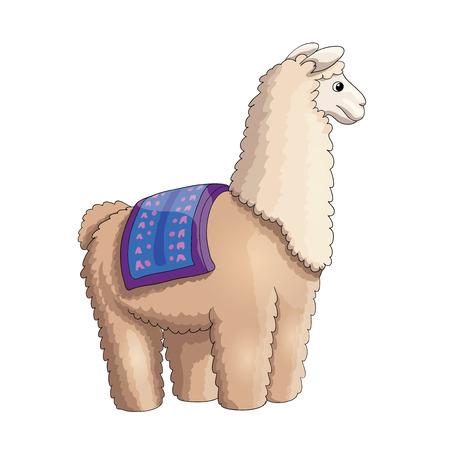 Fluffy lama ready to ride some kids, cartoon illustration, EPS10