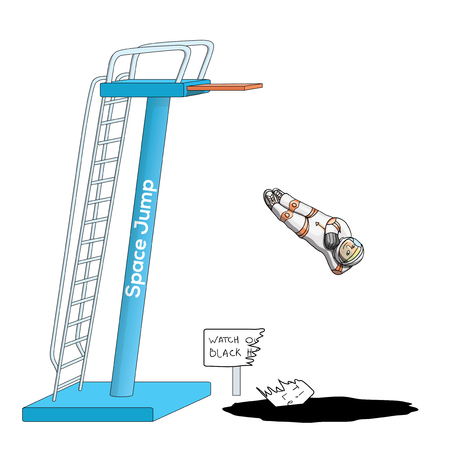 spacesuit: Young astronaut in spacesuit, jumping from a Space Jump diving board