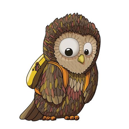 Young surprised owl character wearing backpack (rucksack) cartoon illustration, EPS10 Illustration